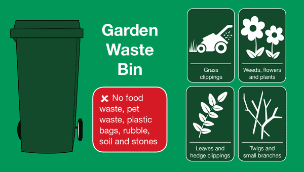 Recycling green waste bin icon